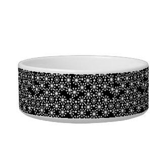 Black and white circles polka dots bowl