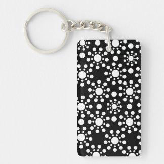 Black and white circles polka dots Single-Sided rectangular acrylic keychain