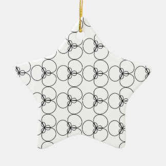 Black and White Circles, Rings Double-Sided Star Ceramic Christmas Ornament