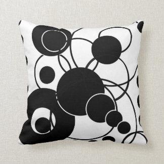 Black and White Circles Throw Pillow