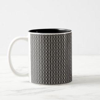 black and white circular pattern Two-Tone coffee mug
