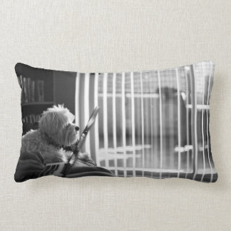 Black and white city apartment with dog lumbar pillow