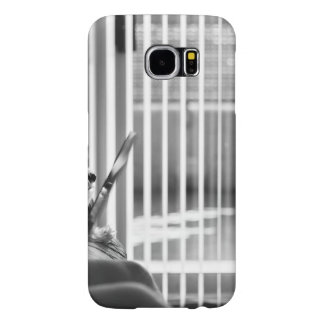 Black and white city apartment with dog samsung galaxy s6 case
