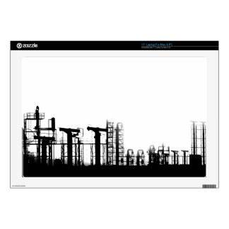 black and white city power lines decals for laptops