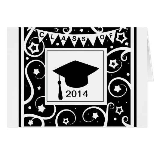 Black and white class of custom year graduation cards