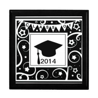 Black and white class of custom year graduation gift boxes