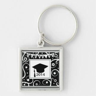 Black and white class of custom year graduation keychain