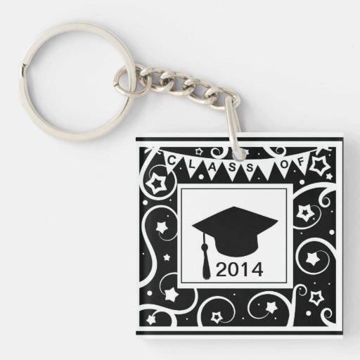 Black and white class of custom year graduation acrylic key chain