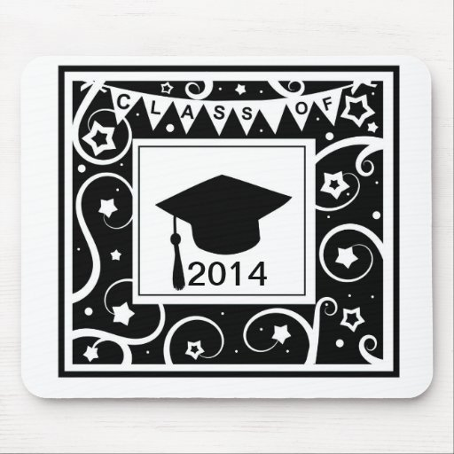 Black and white class of custom year graduation mousepad