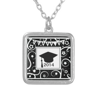 Black and white class of custom year graduation necklace