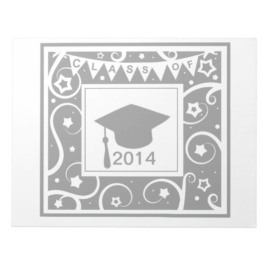 Black and white class of custom year graduation notepad