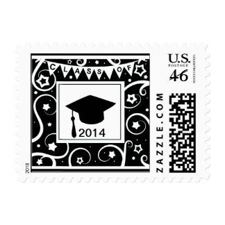 Black and white class of custom year graduation postage stamp