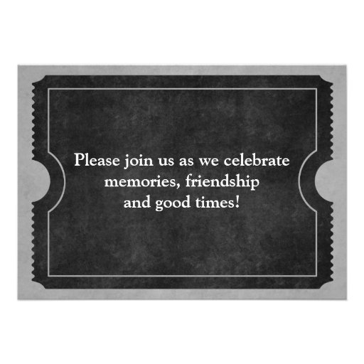 Black and White Class Reunion Ticket Invitations (back side)