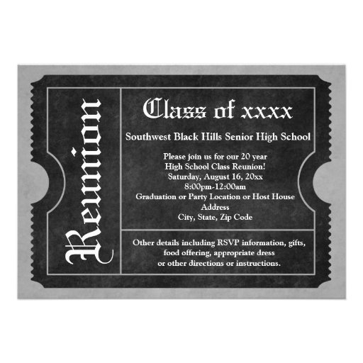 Black and White Class Reunion Ticket Invitations