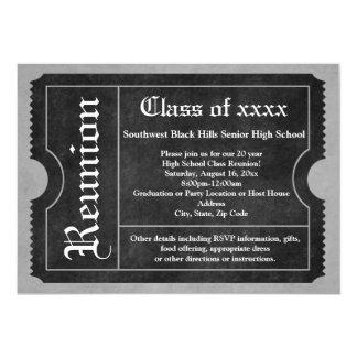 "Black and White Class Reunion Ticket Invitations 5"" X 7"" Invitation Card"