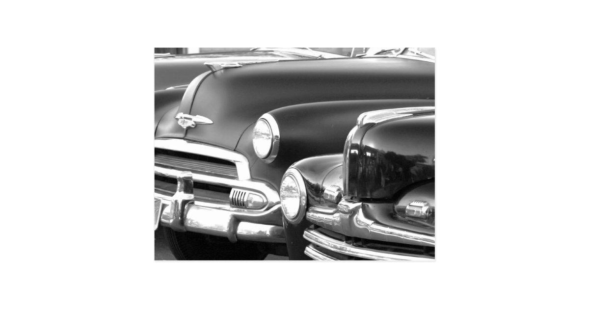 Black and white classic cars postcard   Zazzle