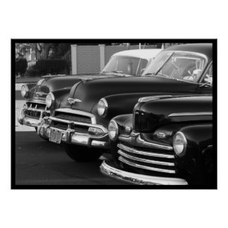 Black and white classic cars poster