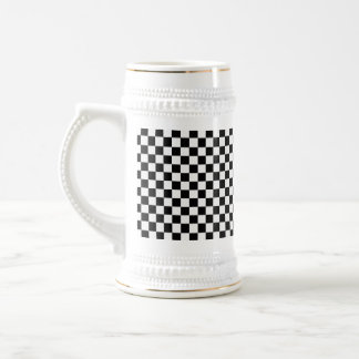 Black And White Classic Checkerboard 18 Oz Beer Stein