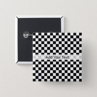Black and White Classic Checkerboard by STaylor Pinback Button