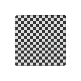Black and White Classic Checkerboard by STaylor Stone Magnet