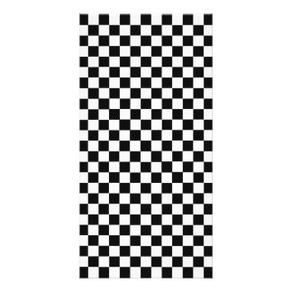 Black And White Classic Checkerboard Customized Photo Card