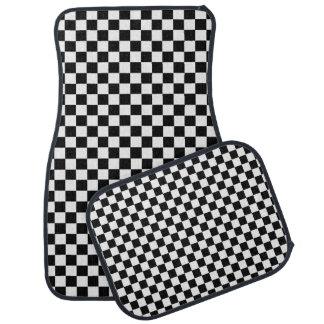 Black And White Classic Checkerboard Car Mat