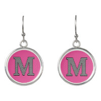 Black and White Classic Chevron M Monogram Initial Earrings