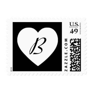Black and White Classic Heart Monogram - B Postage