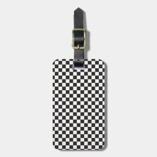 Black And White Classic Retro Checkered Pattern Bag Tag