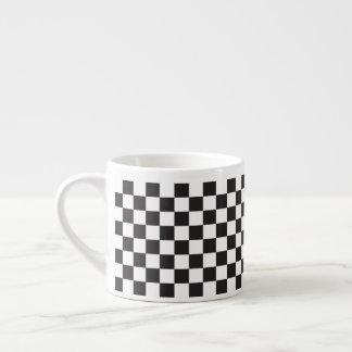 Black And White Classic Retro Checkered Pattern Espresso Cup