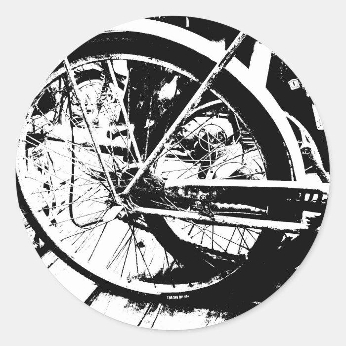 black and white classic round sticker
