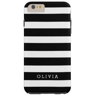 Black and White Classic Stripes Monogram Tough iPhone 6 Plus Case