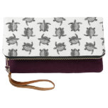 Black and White Classic Vintage Sea Turtles Design Clutch