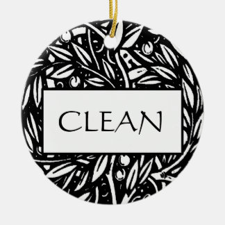 Black and White Clean Dirty Dishwasher Hanger Ceramic Ornament