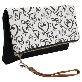 Black And White Clef Hearts Music Notes Pattern Clutch
