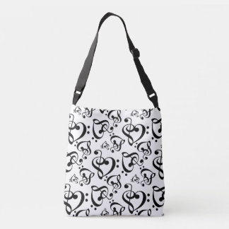 Black And White Clef Hearts Music Notes Pattern Crossbody Bag
