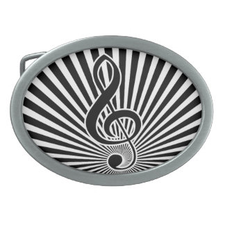 Black and White Clef Music Note on Starburst Belt Buckle