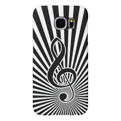 Black and White Clef Music Note on Starburst Samsung Galaxy S6 Cases