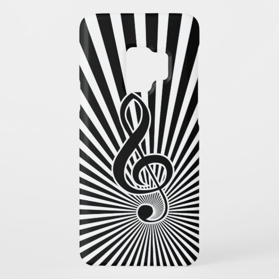 Black and White Clef Music Note on Starburst Case-Mate Samsung Galaxy S9 Case