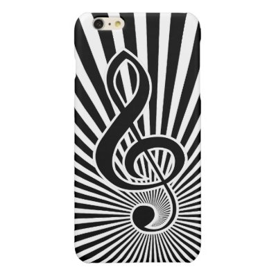 Black and White Clef Music Note on Starburst Glossy iPhone 6 Plus Case