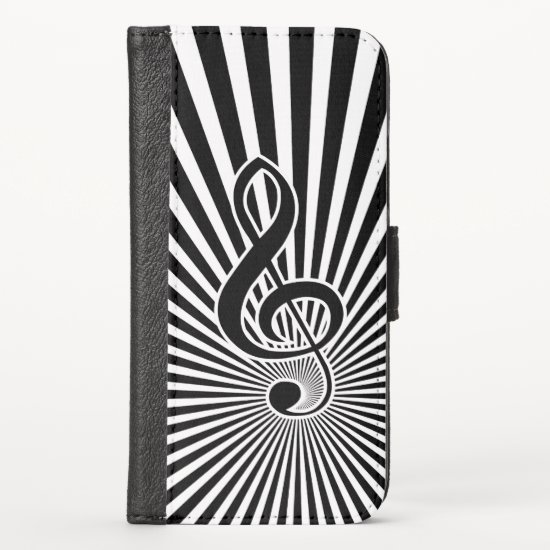 Black and White Clef Music Note on Starburst iPhone XS Wallet Case