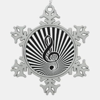 Black and White Clef Music Note on Starburst Pewter Snowflake Ornament
