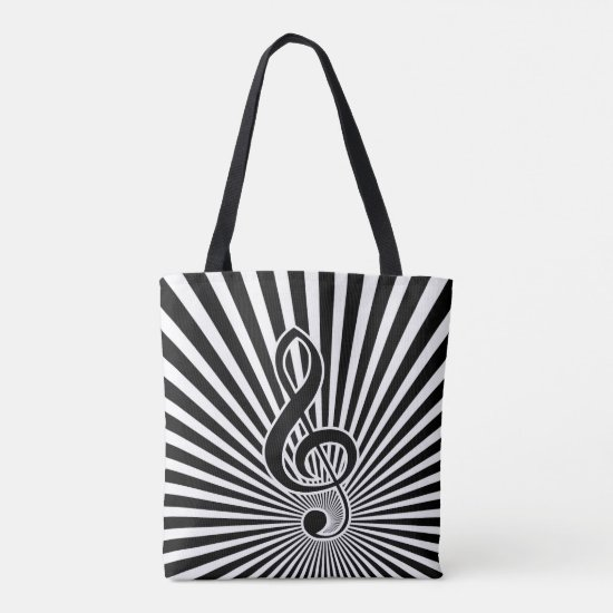 Black and white clef music note on starburst tote bag