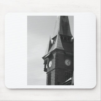 Black and White Clocktower Mouse Pad