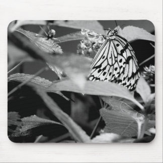 black and white close-up of a paper kite butterfly mouse pad