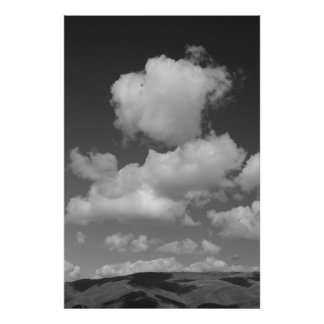 Black and White Clouds Poster