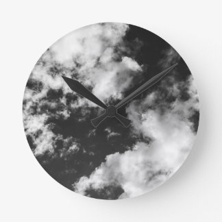 Black and White Cloudy weather Round Clock