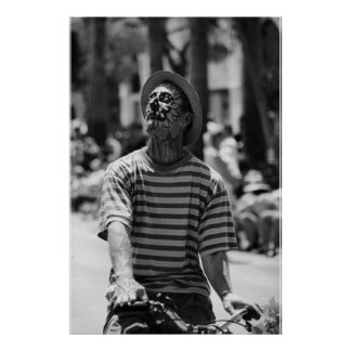 black and white clown poster