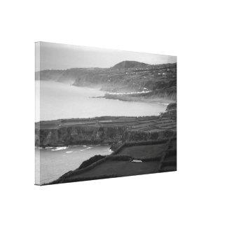 Black and white coastal landscape canvas print