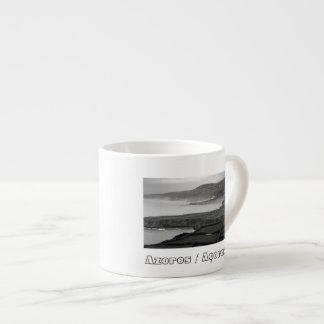 Black and white coastal landscape espresso cup